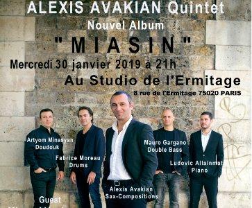 """Alexis Avakian Quintet + Miqayel Voskanyan sortie de l'abum """"Miasin"""" au Studion de l'Ermitage Paris"""