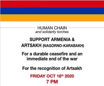 Chaîne Humaine en soutien à l'Arménie et au Haut-Karabakh