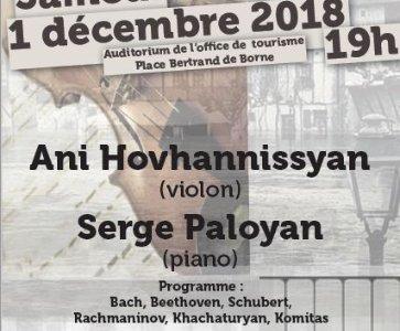 Concert de musique classique avec la violonniste Ani Hovhannissyan et le pianiste Serge Paloyan