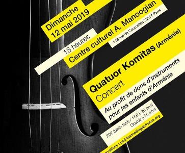Concert exceptionnel du Quatuor Komitas à Paris au Centre Culturel Alex Manoogian