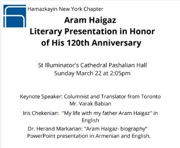 Honoring Aram Haigaz - Literary Presentation w/ Varak Babian