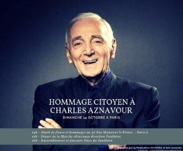 Info Arménie, et la Fédération HAYASSA, invitent tous les citoyens à un Hommage Citoyen à Charles Aznavour le Dimanche 14 Octobre à Paris.