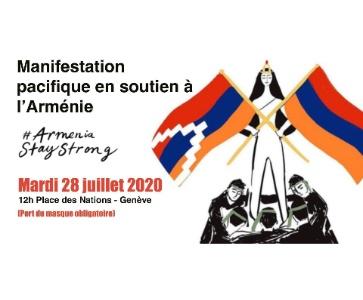 Manifestation pacifique en soutien à l'Arménie