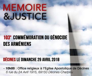 Mémoire & Justice: 103e Commémoration du Génocide des Arméniens