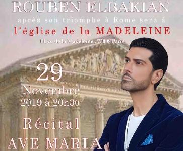 Récital « AVE MARIA » à l'église de la Madeleine donné par la voix d'or Rouben ELBAKIAN au profit du Secours Catholique
