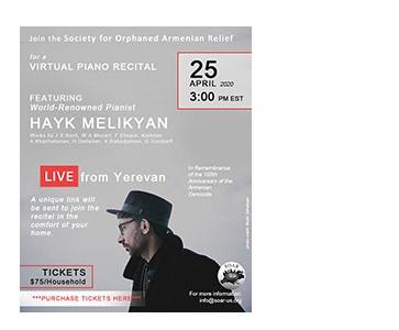 SOAR Virtual Piano Recital with Hayk Melikyan LIVE from Yerevan!