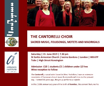 THE CANTORELLI CHOIR SACRED MUSIC, FOLKSONGS, MOTETS AND MADRIGALS